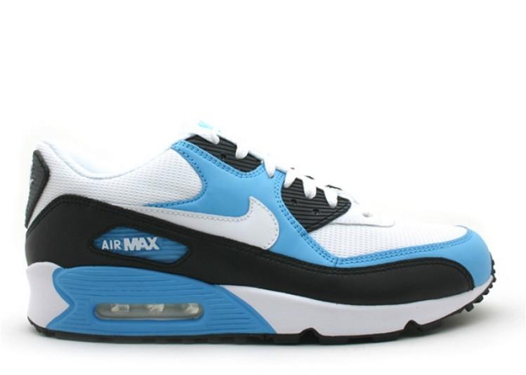 best loved c7904 bd198 Verkauf Nike Air Max 90 Leder weiß-schwarz-leuchtend blau 302519-116